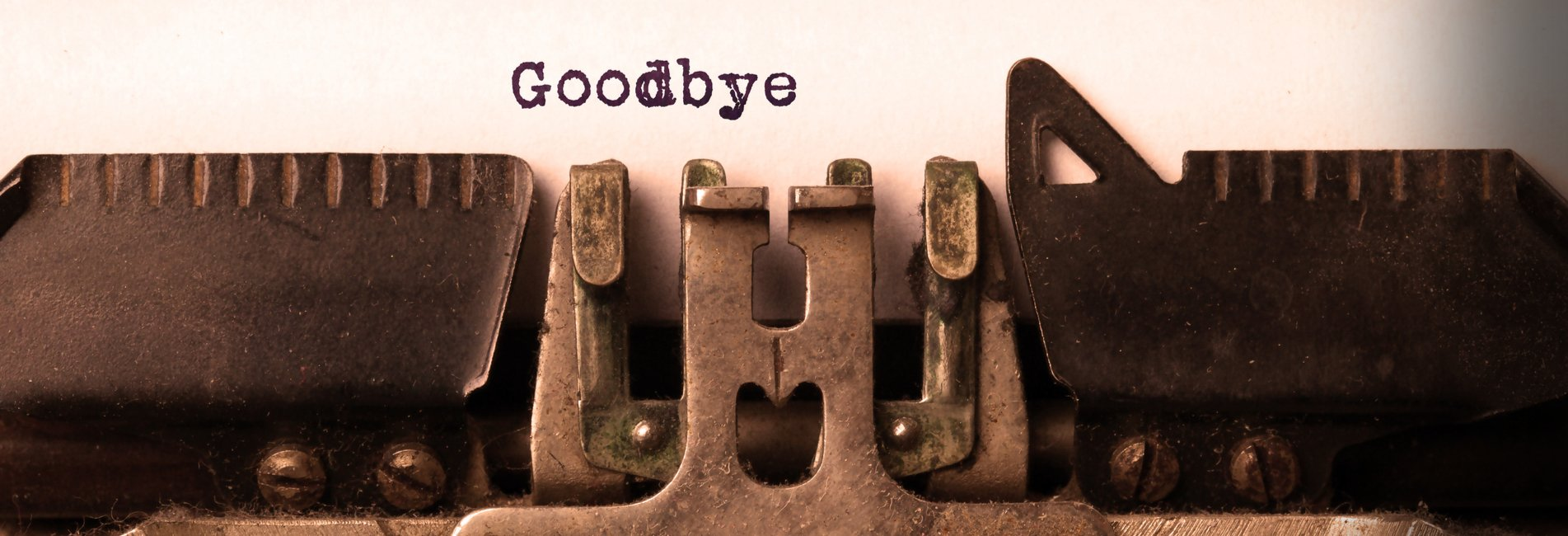 """Goodbye Letter Addiction Resurgence - An image of a typewriter that is typing """"goodbye"""" because penning a goodbye letter to drugs when entering treatment is a good way to start your sobriety journey."""