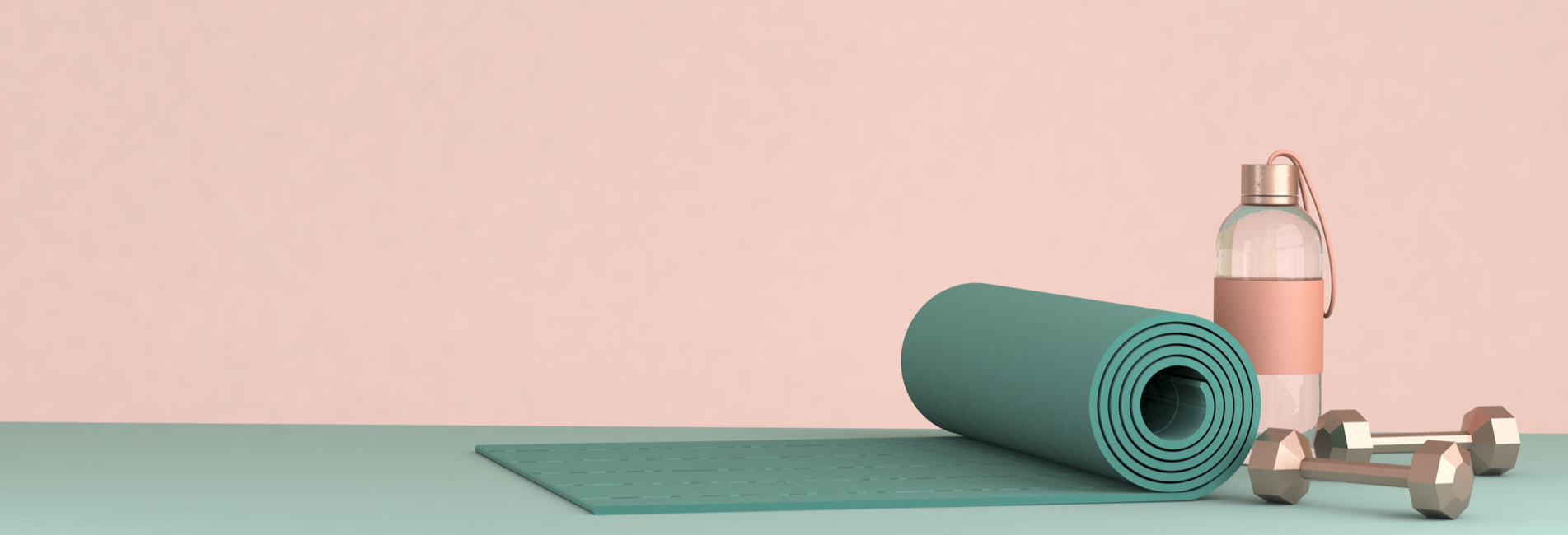 Yoga for Substance Abuse and Addiction Treatment - Resurgence - An image of a yoga mat, dumbells, and a water bottle as yoga for substance abuse is a healthy coping mechanism for addiction treatment.