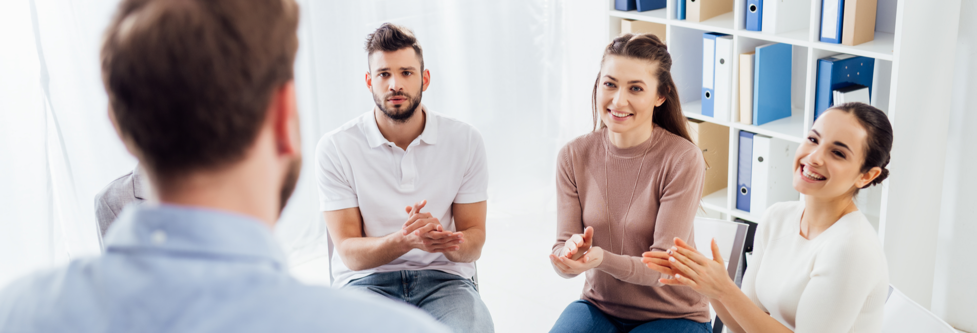 Evidence Based Treatment in California for Addiction - Resurgence - A group of individuals struggling with addiction is discussing evidence based treatment in California in a group therapy session.